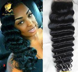 Wholesale Deep Wave Free Closure - Natural black color hair Indian deep WaveLace Closure Human Hair 4x4 free middle three Part Bleached Knots lace closure