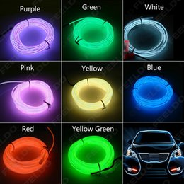 Wholesale El Neon Meter - 30set lot 3-meter 9colors of Flexible EL Neon Glow Lighting Rope Strip + Charger for Car Decoration,gurantee quanlity