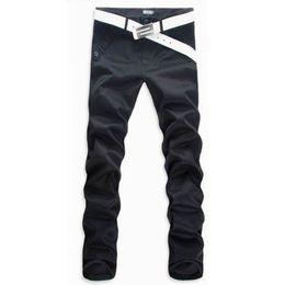 Wholesale Khaki Korean Pants - Wholesale-Free Shipping Men's Korean style casual pants cotton pants men straight joggers trousers Dark khaki Black Grey (No Belt)