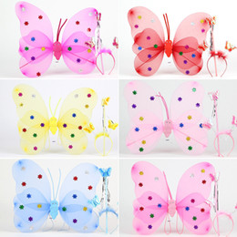 Wholesale Sticks Costume - Children Girls Butterfly cosplay props 3pcs sets Wings hairband Fairy stick Kids Holloween Christmas Festivals Costume Ball Angel Party