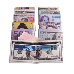 Wholesale Red White Blue Coin Purse - 100Pcs Men's PU leather wallet Creative Euro Dollars chic purse wallets card holders Best gift for men and children