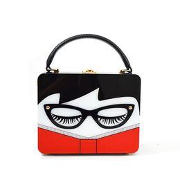 Wholesale glass artworks - Fashion Ladies Handbag 2017 New Small Square Bag Europe and The United States Fashion Acrylic Handbags Glasses Woman Box Bag Messenger Bag