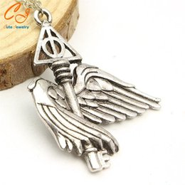 Wholesale Harry Wings Necklace - European and American movie peripheral accessories Harry potter deathly hallows flying wing necklace sautoir keys