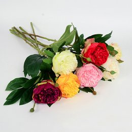 Wholesale Silk Peony Stem - beautiful silk flowers Peonies Stem in Rose and Cream-26''Tall Perfect for a hand held bouquet wedding boutonnieres Christmas decoration