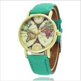 Wholesale Flower Clocks - Fashion Quartz Men Watches Luxury Map Flower Women Dress Watch Leather Band Men Wrist watches Clocks gifts Accessories Relojes