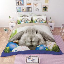 kaninchen print duvet Rabatt Ostern Bunte Eier Kaninchen Druck Bettwäsche-Sets Twin Königin King Size Bettwäsche Bettdecken Bettbezüge Kissen Sham Tröster Tier