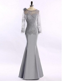 Wholesale Mum Bride Dresses - Silver Jewel Mermaid Mum Dress For Mother of Groom Princess Floor-length Long Sleeve Lace and Satin Mother of the Bride Dress