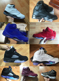 Wholesale Beige Suede Shoes - 2018 Traderjoes With Box Mens and Womens Basketball Shoes 5S Metallic White Cement Red Blue Suede Sneakers Black Grape Metallic US9.5 US10