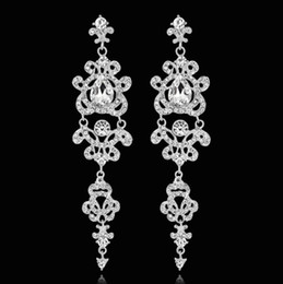 Wholesale Wholesale Crystal Chandelier Chain - Fashion Rhinestone Crystal Long Drop Earrings for Women Silver Color Chandelier Bridal Bridesmaid Pendants Earrings Wedding Jewelry