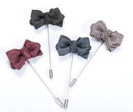 Wholesale Mens Wedding Suit Flowers - Fashion Mens Suits Insert Stripe Bowknot Long Brooch Pins Men's Accessories Fashion Jewelry Decorations Flower Brooches