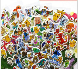 Wholesale Pikachu Party - Poke mon Sticker Pikachu 3D Wall Stickers Poke go halder children kids toys gifts Wallpaper paster Kindergarten Reward Xmas Gifts