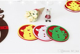 Wholesale table mats decoration - New Christmas decorations west glass table mat Coffee cup mat disc pad insulation pad Christmas gifts
