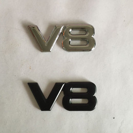 Wholesale Silver Animal Car Stickers - 3D Metal V8 Emblems Badges Car Stickers Car styling black and silver