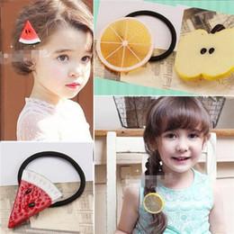 lindas cintas de color naranja Rebajas Más reciente Fruta creativa limón manzana cintas para el cabello Banda elástica de dibujos animados lindo femenino Corea del Sur se contrata arte accesorios para el cabello 4537