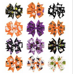 Wholesale halloween grosgrain ribbon wholesale - Mix style Halloween Grosgrain Ribbon Bows WITH Clip Snow Pinwheel Hair Clips Hair Pin Accessories For kids XZ57