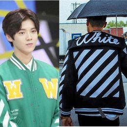 Wholesale White Mandarin Jacket - Mens Off White Official 1: 1 High Quality 2017 Hip Hop Jacket High Quality New Fashion EXO Splice Skateboard Baseball Jackets