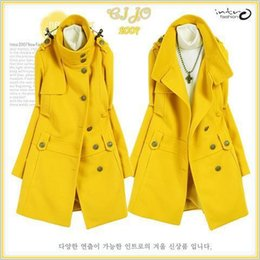 Wholesale Military Jacket Wool Woman - women's stand collar wool overcoat woolen outerwear trench clothing Roman military uniform buckle jacket Multi Colors Size:S~XL