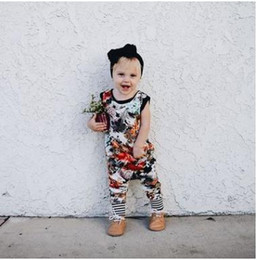 Wholesale Print Ink Wholesale - INS baby rompers Newborns Ink painting Printed Rompers Toddler Kids Sleeveless Boat-Neck Jumpsuits Boys girls Clothes Kids Clothing G1254