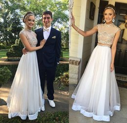 Wholesale Sheer Bodice Sequin Prom Dress - 2017 Two Piece Prom Dresses Arabic American Aso Ebi High Neck Cap Sleeves Beaded Bodice Fiesta Floor Length Evening Party Gowns