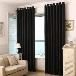 Wholesale Color Grommets - 2016 3pcs High Quality Polyester Fabric Curtains Solid Color Window Curtains Black Red Blackout Luxury Draperies