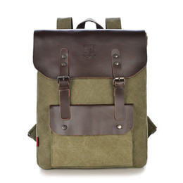 Wholesale Leather Backpack Camping - Wholesale-Men Backpack High Quality Leather Canvas Bag Backpack for Men Large Capacity Travel Bag Outdoor Sport Hiking Camping Backpack