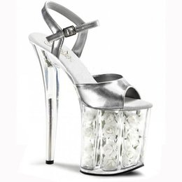 Wholesale White Platform For Wedding Dress - 8 inch platform red rose Crystal sandals fashion white flowers for wedding shoes 20cm pole dancing high heels star dress shoes