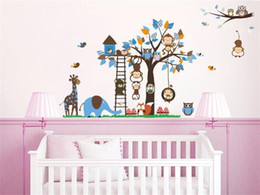 Wholesale Happy Tree Sticker - wall stickers New animal families Cartoon happy around the tree wall decals home decor 1215 PVC for kids room