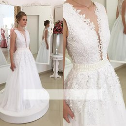 Wholesale Wedding Dress Pearls Design - 2017 New Design Plunging Deep V Neck Lace Wedding Dresses Sexy Backless with Buttons Appliques Chiffon Long Bridal Gowns Pearls Fitted Sash