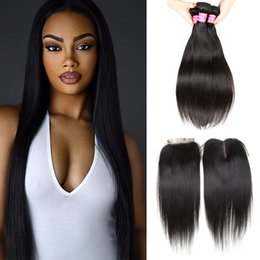 Wholesale Cambodian Mixed - Brazilian Straight Hair Weave 3 Bundles and 4x4 Lace Closure Peruvian Virgin Human Hair Extensions Malaysian Indian Cambodian Mongolian Hair