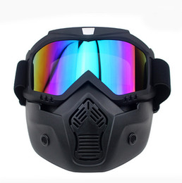 Wholesale Open Face Motorcycle Goggles - 2016 New motocross Motorcycle helmet Mask Detachable Goggles And Mouth Filter Perfect for Open Face Motorcycle Half Helmet Vintage Helmets