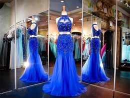 Wholesale Blue Crystal Evening Dress - High Neck Two Pieces Dreses Evening Wear Royal Blue Beaded Crystal Sheer Neck Prom Dress Mermaid Open Sexy Back Modest Cocktail Party Gowns