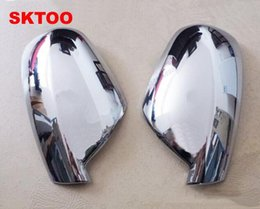 Wholesale Car Wing Doors - Fit For 2004-2012 Peugeot 307 CC SW 407 Door Side Wing Mirror Chrome Cover Rear View Cap Accessories 2pcs per Set Car Stying
