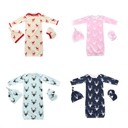 Wholesale Cute Baby Boy Pajamas - INS Baby Clothes 2017 Christmas Baby Sleeping Bags Cute Deerlet Cotton Boys Girls Infant Pajamas Baby Romper 3PCS Set Sleepsuit Jumpsuit 319