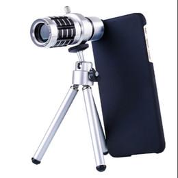 2019 trípode zoom 12x Al por mayor-para iphone 6 lente de la cámara 12X telescopio óptico Zoom teleobjetivo con trípode para iPhone 6 con funda rebajas trípode zoom 12x