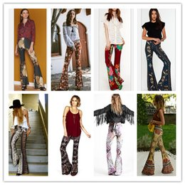 Wholesale Womens Loose Print Pants - Fashion Womens Floral Printed Casual Wide Leg Long Stretch Pants Bohemian Loose Harem Palazzo Plus Size Trousers Free Shipping