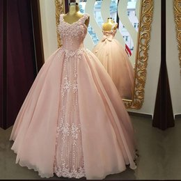 Wholesale Evning Gowns - V-Neck Sleeveless Applqiue Luxurious Evening Dresses Light Pink Big Bow Ball Gown Floor Length Sexy Evning Gowns