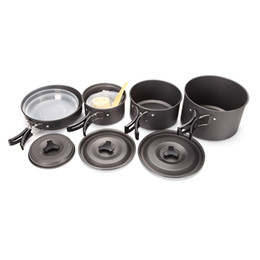 Wholesale Stainless Steel Cookware Sets - 4-5 People Aluminum Portable Outdoor Camping Hiking Picnic Cookware Non-stick Pans Bowls Plates Cooking Set
