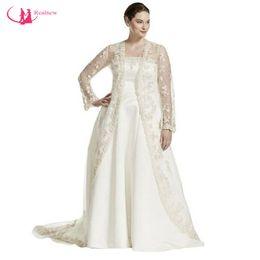 Wholesale Big Size Chart - Sweep Train Satin Strapless Plus Size Wedding Dress With Long Sleeve Cloak Big Women vestidos de noiva
