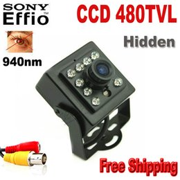 "Wholesale Mini Ir Cctv Camera - 480TVL CCD Mini CCD CAMERA Invisible 10pcs IR 940NM 0 Lux Night Vision CCTV Mini Camera with 1 3"" Sony CCD Mini Camera Hidden Camera"