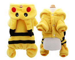 vestiti di chihuahua maschile Sconti Cani Vestiti Cute Cartoon Pikachu Design Cosplay Animali Costume Cane Abbigliamento Per Gatti Cucciolo Felpa Con Cappuccio Inverno Caldo Cappotto 5 Taglie PKC052