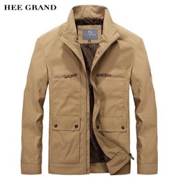 Wholesale Cargo Jackets - Wholesale- HEE GRAND Men Casual Jackets 2017 New Arrival Stand Collar Multi-Pockets Spring Autumn Solid Cargo Outwear Size M-3XL MWJ2291