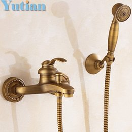 Wholesale Traditional Brass Bathroom Faucets - Bathroom Bath Wall Mounted Hand Held Antique Brass Shower Head Kit Shower Faucet Sets YT-5340 bathroom product