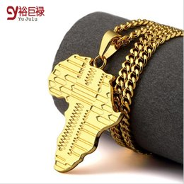 Wholesale Map Models - 2016 New Explosion models 18K Gold thick plated black street pop Africa Map Pendant Necklace hip hop jewelry Cuban Chain for Women men