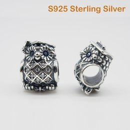 Wholesale sterling silver solid bangles - Fits Original Pandora Bracelets & Bangles & Necklaces OWL GRADUATE CHARM DIY Beads Real Solid 925 Sterling Silver Not Plated
