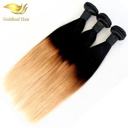 Wholesale two toned colored weave - 10- 26 Inch Straight Ombre Human Hair Weaving T1B 27 Two Tone Colored Straight Hair Extensions
