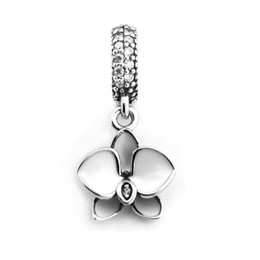 Wholesale orchid pendant - 2017 Autumn White Enamel Orchid Pendant Charms Fit brand Bracelets Original 925 Sterling Silver Flowers Beads For Jewelry Making