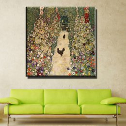 Wholesale Oil Painting Calligraphy - ZZ740 Modern Oil Painting Canvas Art Abstract Gustav Klimt flower garden Wall Pictures For Living Room Home Decor Printed