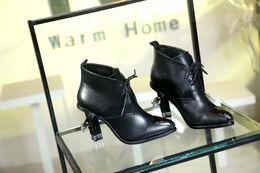 Wholesale Metal Heel Ankle Boots - high quality~ u634 genuine leather snake pattern chain heel metal short boots black grey runway designer punk fashion luxury l designer