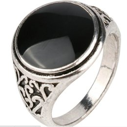 Wholesale Black Onyx Jewelry For Women - jewelry vintage alloy Carving Imitation gemstone ring obsidian ring big wide surface Black gem Cabochon Onyx agate rings for women 2017 j216