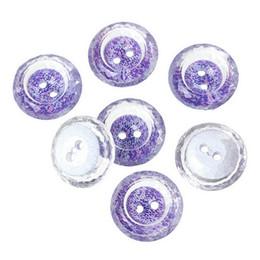 Bouton 21mm en Ligne-21mm Transparent, multi section imprimé fleurs pourpres rondes forme bouton à coudre de 2 trous bouton de couture boutons en acrylique boutons # 00481 #